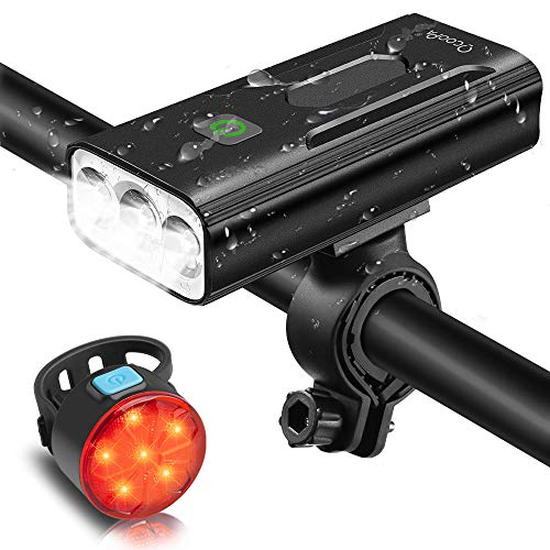 USB Rechargeable Bicycle Lights Bright Front 1200 Lumen LED Head Torch Headlamp Waterproof with Battery Pack and Free Safety Taillight Included Mountain Cycling Safety Accessories Bike Lights Set